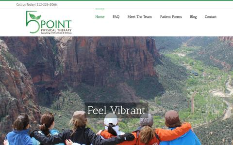 Screenshot of Home Page 5pointpt.com - Physical Therapy Pelvic Floor - captured Sept. 13, 2015