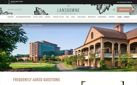 Screenshot of FAQ Page destinationhotels.com - Hotels Near Dulles Airport | Lansdowne Resort and Spa - Frequently Asked Questions - captured July 16, 2018