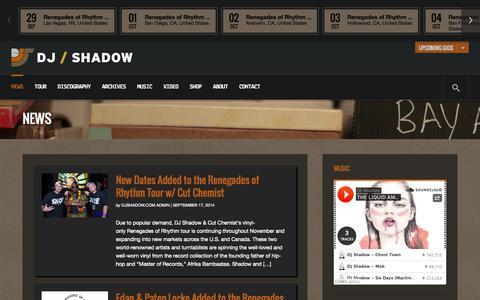 Screenshot of Press Page djshadow.com - News | DJ Shadow - captured Sept. 30, 2014