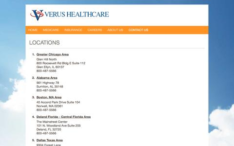 Screenshot of Locations Page verushealthcare.com - Verus Healthcare - Medicare - captured July 3, 2016