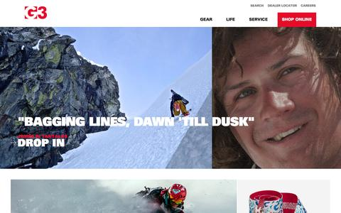 Screenshot of Home Page genuineguidegear.com - Backcountry, Telemark & AT Skis & Gear | G3 Genuine Guide Gear - captured Oct. 1, 2014