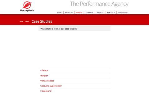 Screenshot of Case Studies Page mercurymedia.com - Case Studies   Mercury Media - captured Sept. 23, 2014