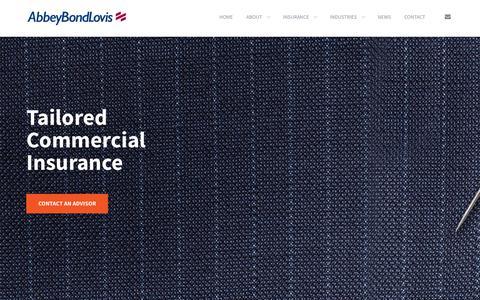 Screenshot of Home Page abbeybondlovis.com - Abbey Bond Lovis | NI Insurance Brokers and Risk Advisors - captured July 28, 2018
