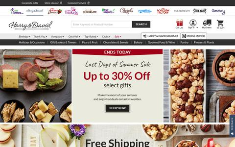 Screenshot of Home Page harryanddavid.com - Online Gift Baskets, Fruit and Food Gifts & Wine Clubs | Harry & David - captured Aug. 28, 2019