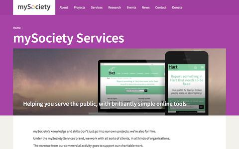 Screenshot of Services Page mysociety.org - Services / mySociety - captured June 17, 2015