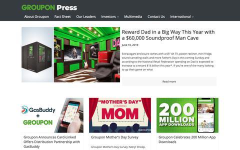 Screenshot of Blog Press Page groupon.com - Groupon Press - captured June 15, 2019