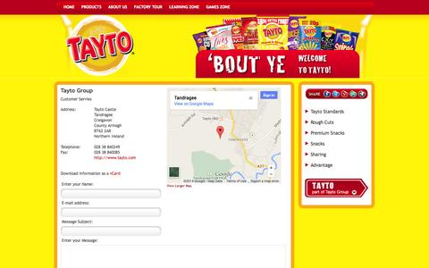 Screenshot of Contact Page tayto.com - Tayto Group - captured Oct. 7, 2014