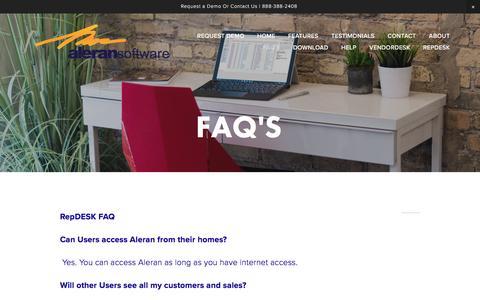 Screenshot of FAQ Page aleran.com - FAQ's — Aleran Software - captured Nov. 20, 2016