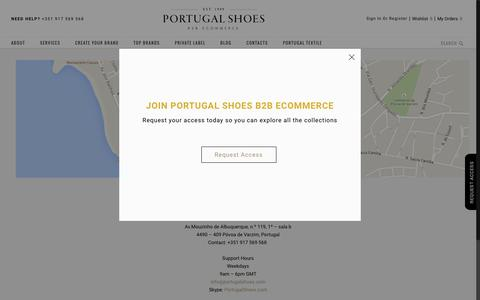 Screenshot of Contact Page portugalshoes.com - Contact us | Portugal Shoes B2B Ecommerce - captured July 14, 2016