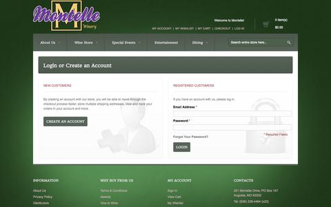 Screenshot of Login Page montelle.com - Customer Login - captured Oct. 26, 2014