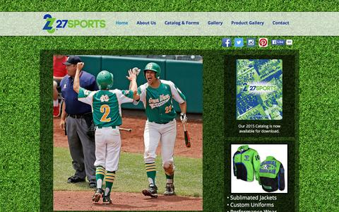 Screenshot of Home Page 27sports.com - Sublimated Custom Team Uniforms - captured Jan. 10, 2016