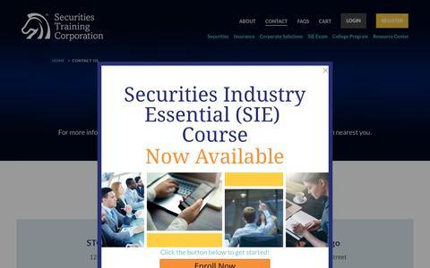 Screenshot of Contact Page stcusa.com - Contact Us - Securities Training Corporation - captured Oct. 18, 2018