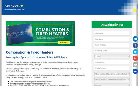 Screenshot of Landing Page yokogawa.com - Combustion & Fired Heaters - An Analytical Approach to Improving Safety & Efficiency - captured Nov. 9, 2019