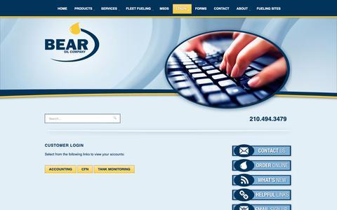 Screenshot of Login Page bearoil.com - Accounting, CFN, Tank Monitoring Logins | San Antonio, TX - captured Oct. 5, 2018
