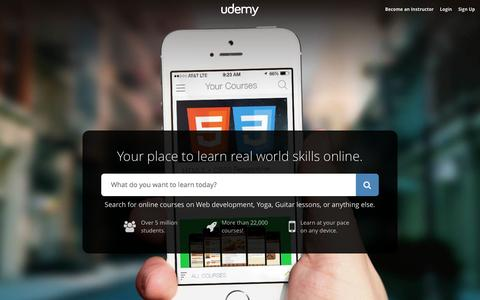 Screenshot of Home Page udemy.com - Online Courses - Anytime, Anywhere | Udemy - captured Jan. 15, 2015