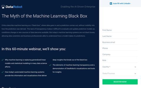 Screenshot of Landing Page datarobot.com - The Myth of the Machine Learning Black Box - DataRobot - captured Sept. 19, 2018