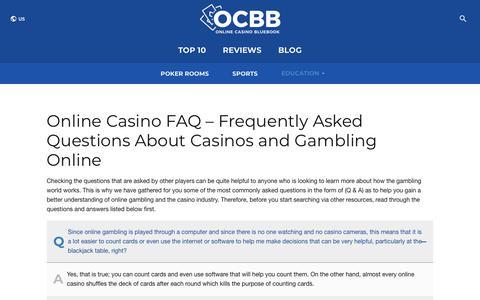 Screenshot of FAQ Page onlinecasinobluebook.com - Frequently Asked Questions About Online Casinos and Gambling - captured Nov. 8, 2019