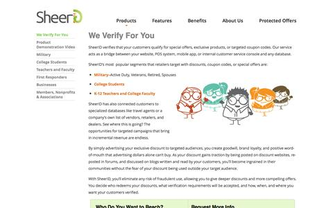 Screenshot of Products Page sheerid.com - We Verify For You | SheerID - captured Sept. 17, 2014