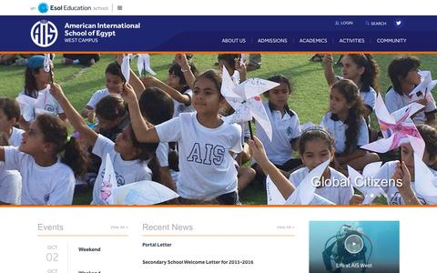 Screenshot of Home Page aiswest.com - American International School of Egypt - West Campus - captured Oct. 10, 2015