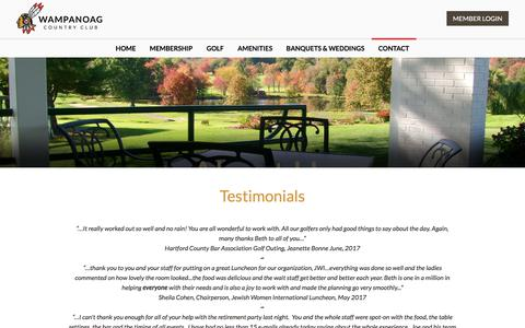 Screenshot of Testimonials Page wampanoagcc.com - Wampanoag Country Club - Testimonials - captured Feb. 26, 2018