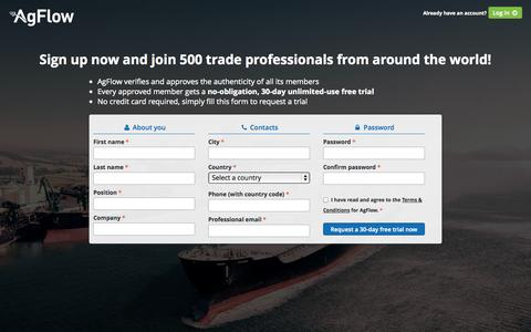 Screenshot of Signup Page agflow.com - AgFlow - captured Sept. 13, 2014