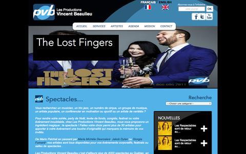 Screenshot of Services Page vincentbeaulieu.com - Artistes pour spectacle événement congrès festival au Québec - captured Oct. 3, 2014
