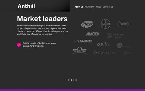 Screenshot of Contact Page anthillagency.com - Anthill - individual digital communication for the life science industry - captured Oct. 29, 2014