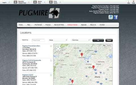 Screenshot of Locations Page pugmire.com - Pugmire Ford Lincoln | New Lincoln, Ford dealership in Marietta, GA 30060 - captured Feb. 2, 2016