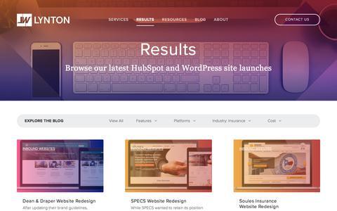 Screenshot of Case Studies Page lyntonweb.com - Results | Inbound Marketing Websites | Insurance - captured July 15, 2019