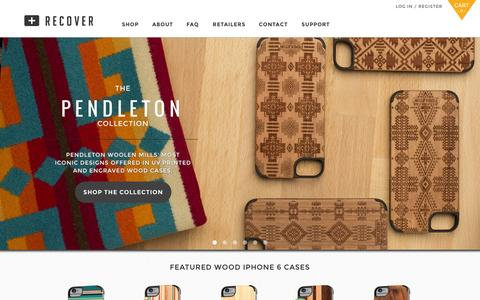 Screenshot of Home Page getrecover.com - Recover | Wood iPhone Cases and Apple accessories - captured Oct. 7, 2014