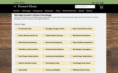 Screenshot of Site Map Page farmerschoice.co.uk - Sitemap, Meat, Fish, Game, Chicken, Farmer's Choice Free Range Ltd - captured Feb. 2, 2018