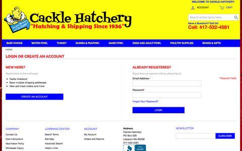 Screenshot of Login Page cacklehatchery.com - Customer Login - captured Jan. 16, 2016