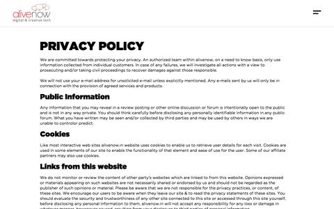 Screenshot of Privacy Page alivenow.in - Privacy Policy | AliveNow - Digital Marketing Agency - captured Sept. 28, 2019