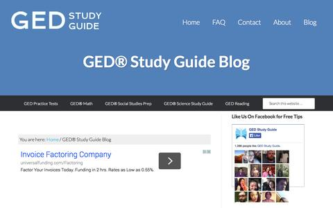 Screenshot of Blog gedstudyguide.org - GED Study Tips Blog: #1 Free GED Study Guide Online - captured Oct. 1, 2014