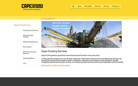 Screenshot of Services Page capecrushing.com.au - Cape Crushing Services | Cape Crushing - captured Jan. 24, 2016