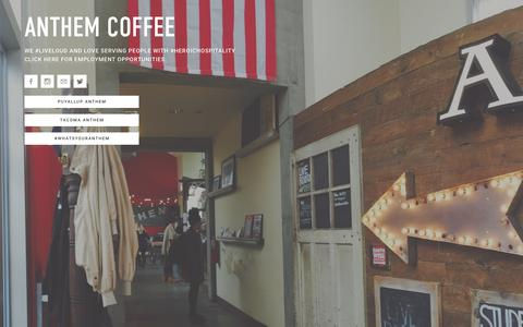 Screenshot of Home Page myanthemcoffee.com - ANTHEM - captured April 12, 2016