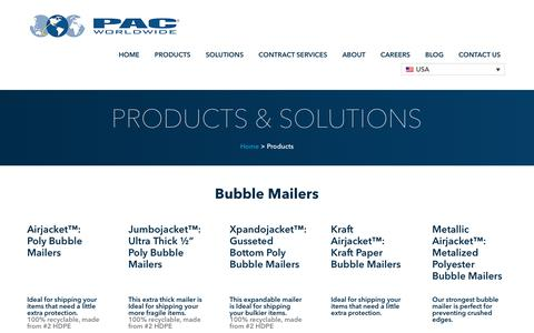 Screenshot of Products Page pac.com - Packaging Products | Shipping Supplies | PAC Worldwide - captured Sept. 10, 2019