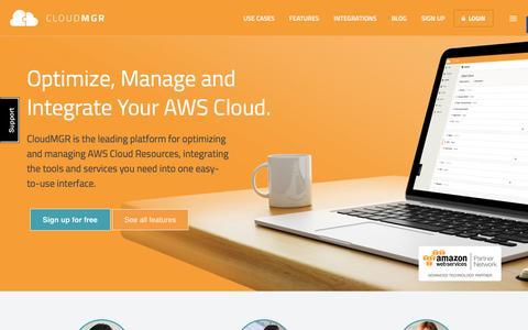 Screenshot of Home Page cloudmgr.com - CloudMGR. Optimize and Manage Your AWS Cloud - captured Feb. 25, 2016
