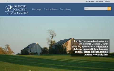 Screenshot of Home Page scblawyers.com - Home - Sasscer, Clagett & Bucher - captured Feb. 3, 2016