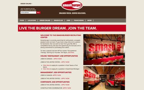 Screenshot of Jobs Page smashburger.com - SmashBurger Work Here - captured Sept. 17, 2014