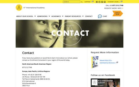 Screenshot of Contact Page icademy.com - Contact Us | Request More Information | K12 International Academy - captured March 12, 2017