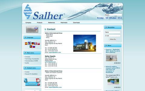 Screenshot of Contact Page salher.com - Contact   Main   Empresa - captured Oct. 3, 2014