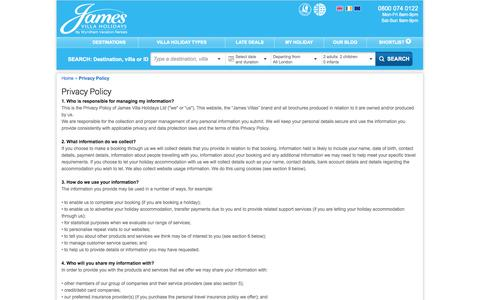Screenshot of Privacy Page jamesvillas.co.uk - James Villa Holidays Privacy Policy - captured Sept. 19, 2014