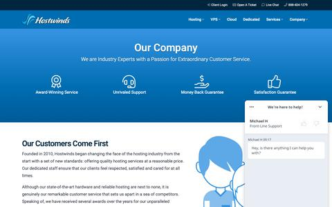 Screenshot of About Page hostwinds.com - About Our Company | Hostwinds - captured May 21, 2019