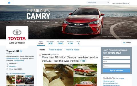 Screenshot of Twitter Page twitter.com - Toyota USA (@Toyota) | Twitter - captured Oct. 24, 2014