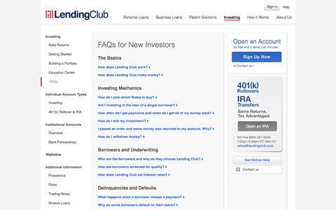 Screenshot of FAQ Page lendingclub.com - FAQs for New Investors - captured Nov. 18, 2015