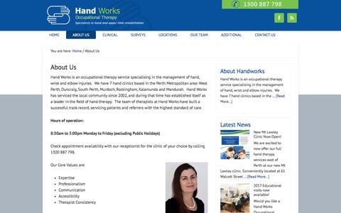 Screenshot of About Page handworks.net.au - About Hand Works  | Hand Works Occupational Therapy - captured July 14, 2017