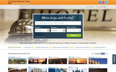 Screenshot of Home Page easytobook.com - Hotels | Luxury & Budget Hotels | Cheap & discount Hotels | Easytobook.com - captured Sept. 18, 2014