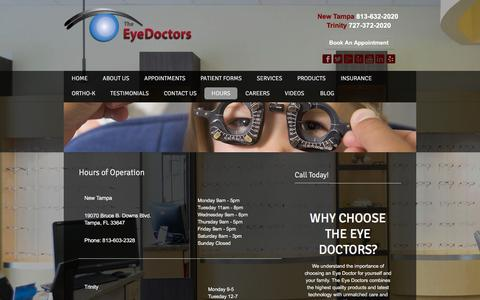 Screenshot of Hours Page theeyedocs.com - :: Hours - captured Feb. 28, 2016