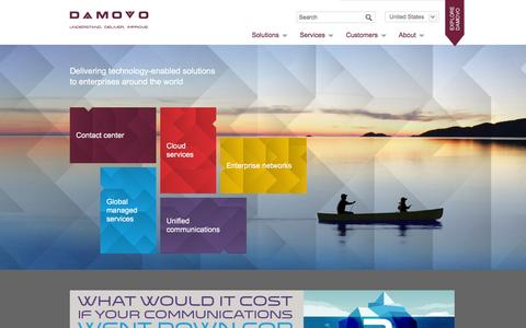 Screenshot of Home Page damovo.com - Damovo - Damovo � global communications solutions for contact centres, enterprise networks and global managed services and cloud solutions. - captured Jan. 7, 2016